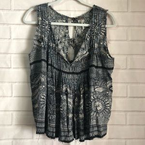 Free People Boho Floral Pleated Front Tank Top